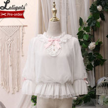 Kitten in the Frame ~ Sweet White Women's Chiffon Blouse White Top by Alice Girl ~ Pre-order(China)