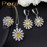 3 Piece 925 Sterling Silver CZ Jewelry Sets For Women Gift Big Yellow Stone Sun Cluster
