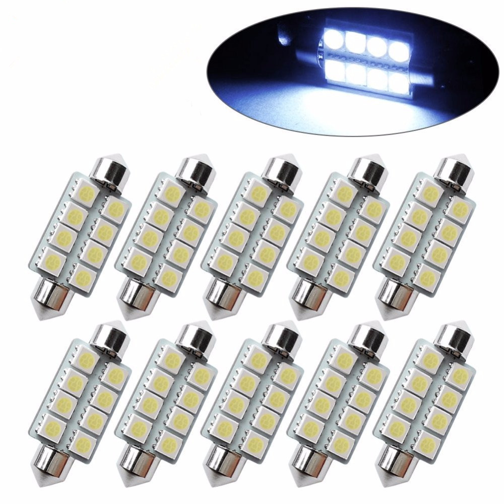 Image 2 - Sell 10pcs 42mm 8SMD 6500K Car Interior Light Festoon LED Interior Map Dome Door Lights Bulbs 211 2 578Color White-in Signal Lamp from Automobiles & Motorcycles