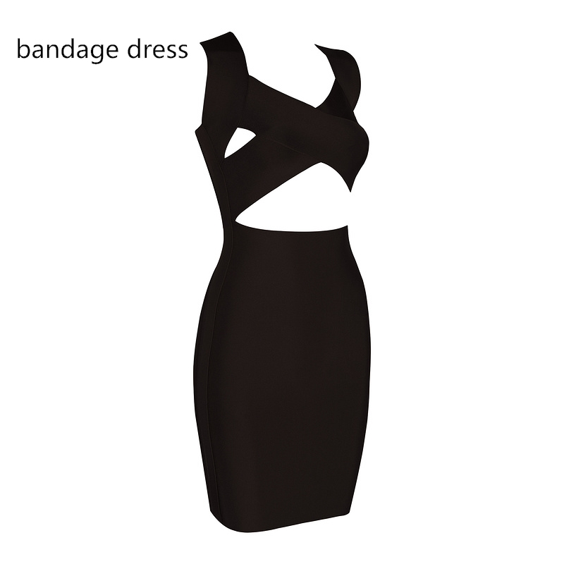 2017 New Women Summer Mini Bodycon Dresses Sexy Black Orange V Neck Vestidos Celebrity Evening Party Bandage Dress LB-M399