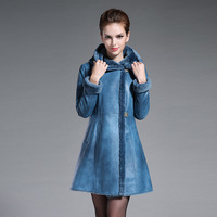2017 Genuine Leather Brown Blue Single Breasted Real Fur Long Coat For Woman Plus Size 3XL