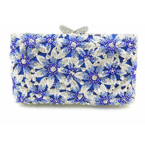 цены на blue Rhinestones Metal Minaudiere Hollow Women Party Handbag Clutches Bridal pink Crystal Purses Wedding Evening Clutch Bags