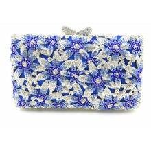 c6a572af6 Azul Pedrinhas Metal Minaudiere Oco Bolsa Embreagens de Noiva rosa de  Cristal Das Mulheres Do Partido Bolsas Sacos de Embreagem .