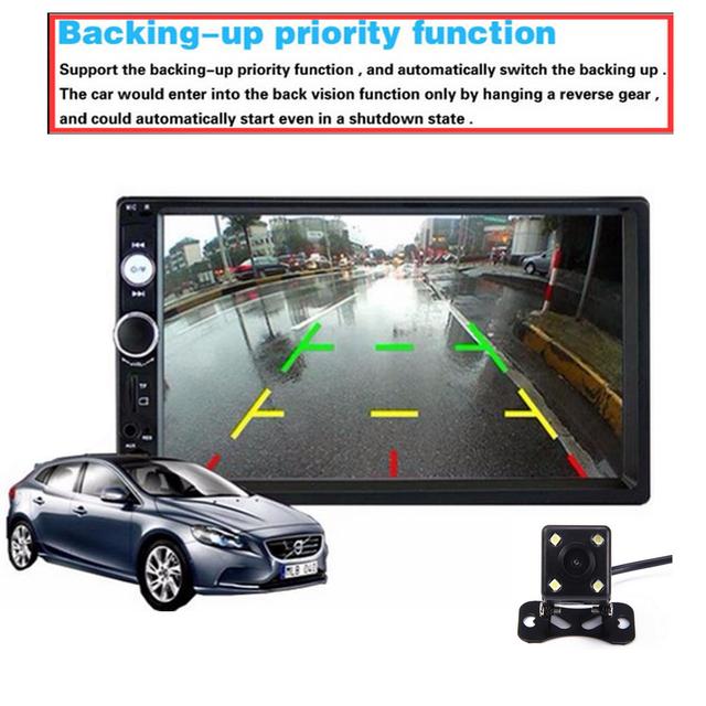 Podofo 2 din car radio 7″ HD Touch Screen Player MP5 SD/FM/MP4/USB/AUX/Bluetooth Car Audio For Rear View Camera Remote Control