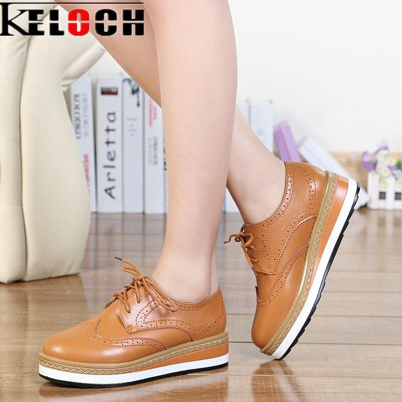 Keloch de charol primavera verano mujeres de la plataforma plana zapatos brogue