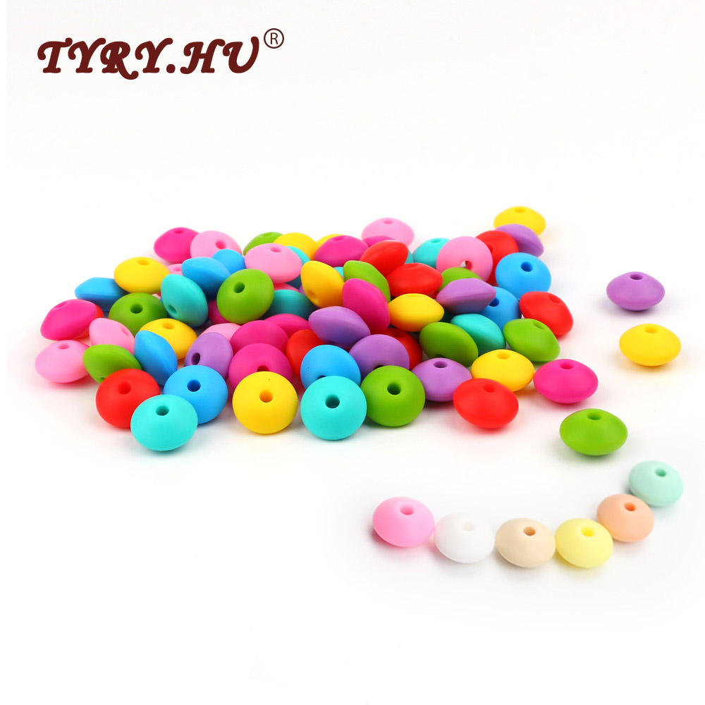 TYRY.HU 10Pcs Round Lentil Teether Beads BPA Free Silicone Beads Baby Girl DIY Pacifier Chain Toy Baby Teething Food Grade Bead