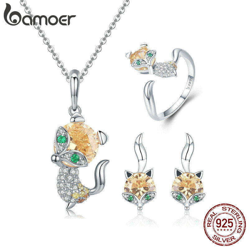 BAMOER Authentic 925 Sterling Silver Cute Crystal Fox Jewelry Set