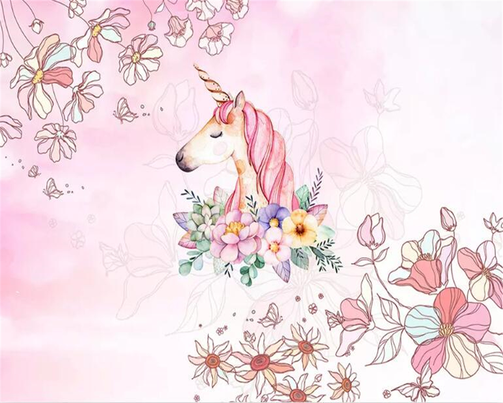 Beibehang Watercolor Unicorn Floral 3d Wallpaper Living Room