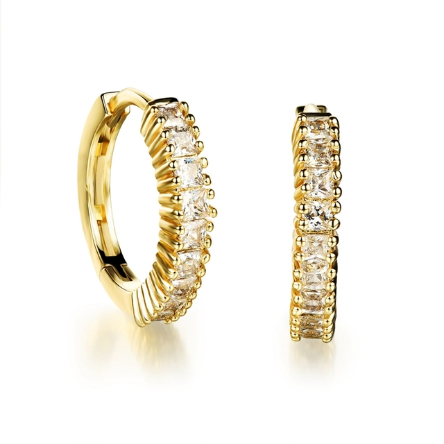 Thin Huggie Earrings Square Cut  Gold Filled Womens Hoop Earrings