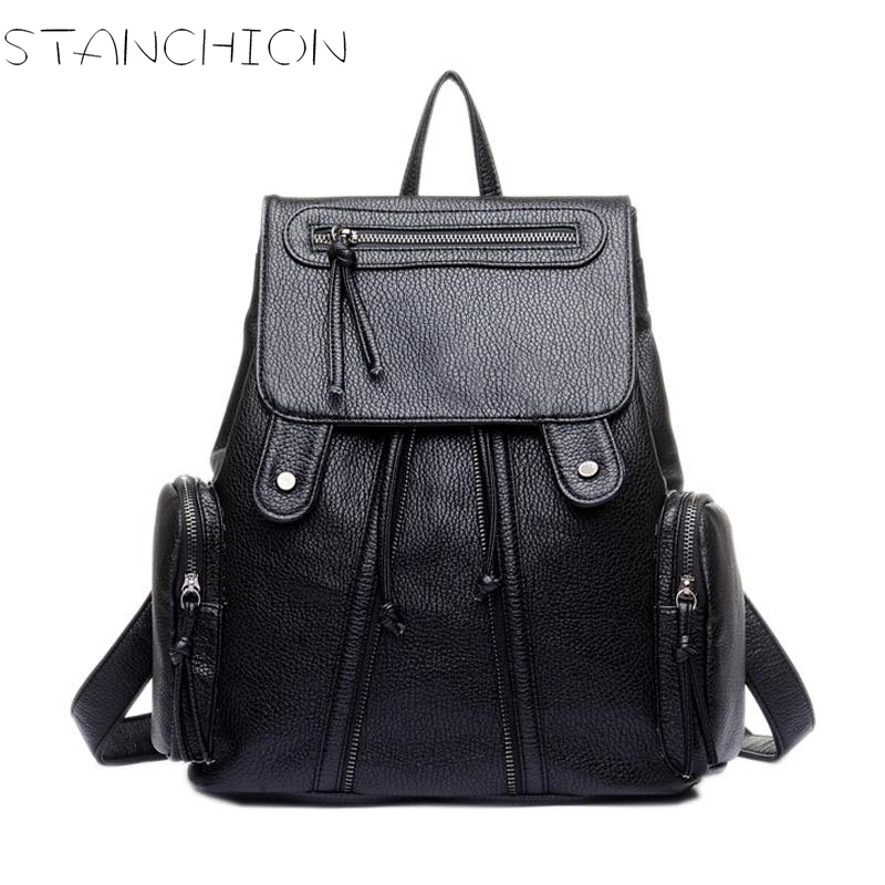 STANCHION PU Leather for Women Large-capacity Multi-pocket Black for Girls School Travel Shoulder Bag цена и фото