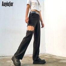 Auyiufar Fashion Cut Out Flare Брюки Женщины Высокой Талией Твердые Женские Уличная Одежда Туристы