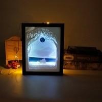 Papercut Light Box LED USB Night Light Lamp Creative Paintings Lovers Sunrise L22