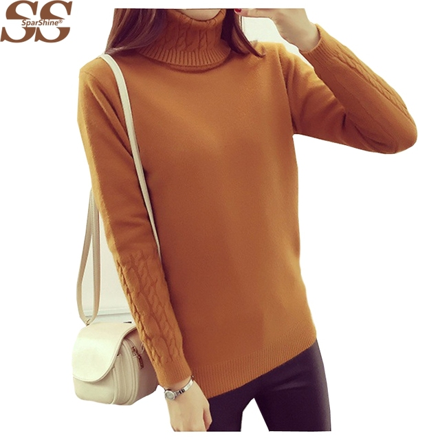 2016 New Winter High Collar Thick Twist Hedging Slim Thin Pullovers Hot Sale For Women