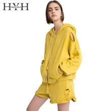 HYH Haoyihui New Solid Autumn Casual Zipper Hole Loose Coat With Hat O Neck String Long Sleeve Elastic Fashion Overcoat string loose utility coat