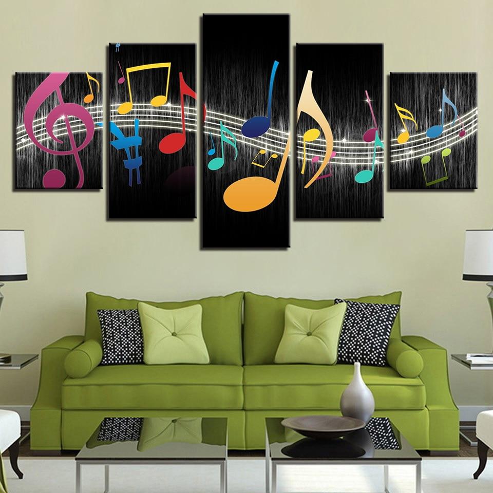 US $5.5 40% di SCONTO|Decorazione Della casa Per Soggiorno Moderno HD  Manifesto Stampa Quadro 5 Pannello Simbolo della Musica Pittura Su Tela  Wall Art ...