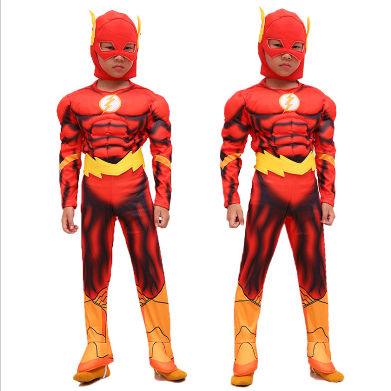 Children's muscles Cosplay flash costume Halloween carnival show costume Avengers Heroes clothes for children