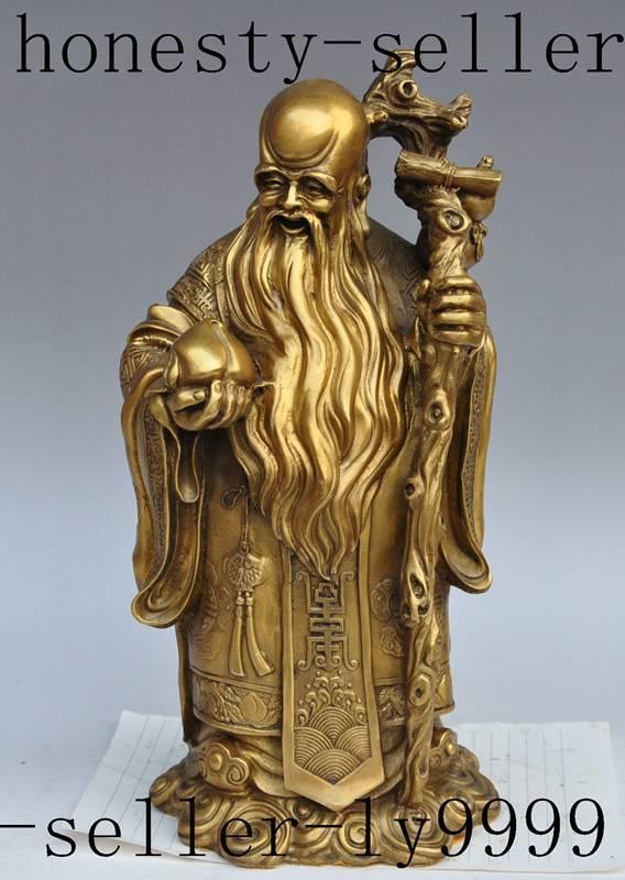 china folk brass Longevity Shouxing god immortals Longevity auspicious statue