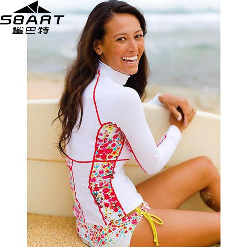 f9f1606811 SBART Rashguard Swim Shirts Women Lycra Surf Top Long Sleeve Swimsuit  Swimming Shirt Surfing Rash Guard Woman Upf50+ Sale H-in Rash Guard from  Sports ...