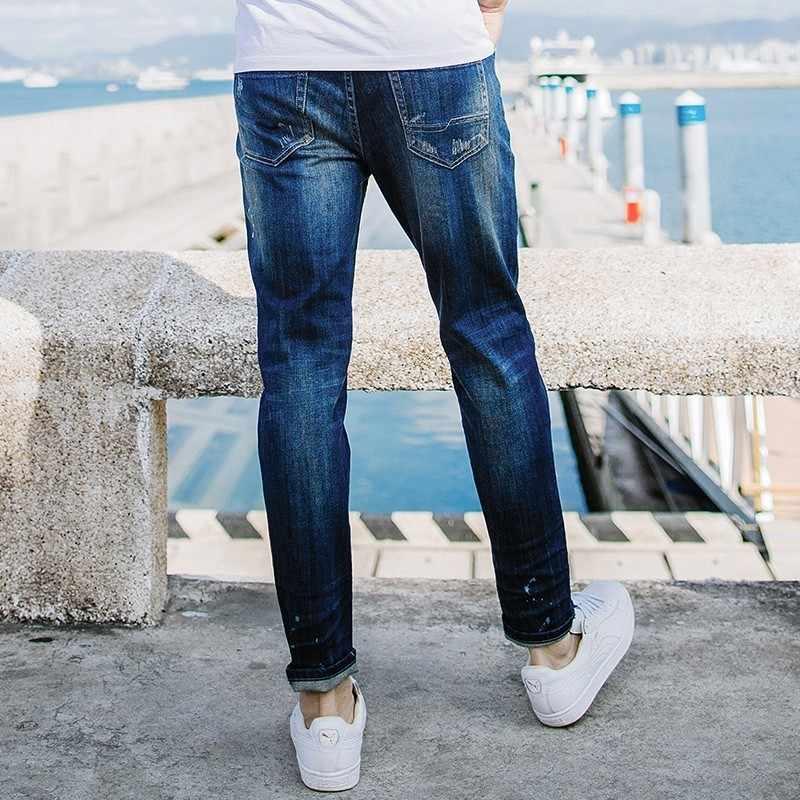 Autumn Men Jeans Cotton Patchwork Blue Color Pocket For Man Fashion Slim Fit Denim Pants 2018 New Male Wear Long Trousers 2651