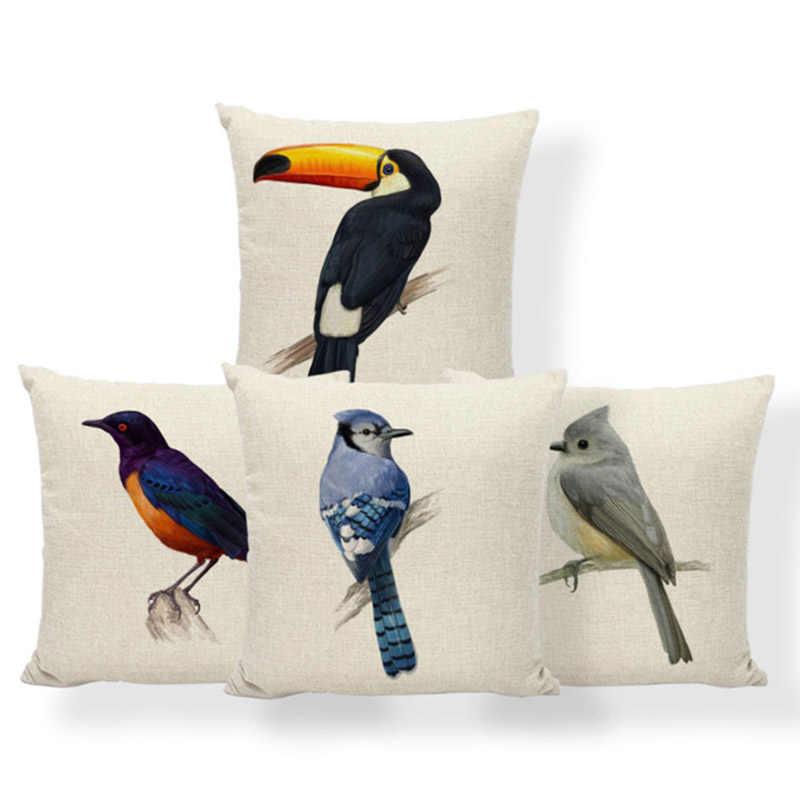 Federe Colorate Per Cuscini.Cardellino Ara Toucan Cuscino Coperture Blue Jay Uccello Cuscino