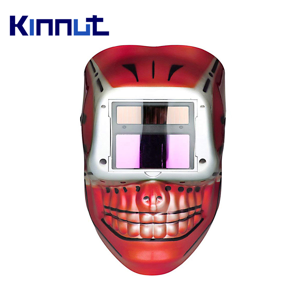 Kinnut Welding Helmet RED Solar Lithium Automatic Welding Helmet Welding Mask Skull Skeleton Design Face Protector for Arc.