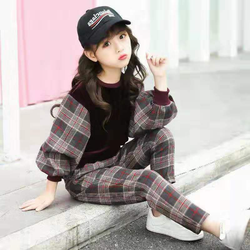 Children Girls Clothing Sets Autumn Teenage Girls Sport Suit Plaid Suit School Kids Tracksuit For Girls Clothes Two Pieces 4~13T