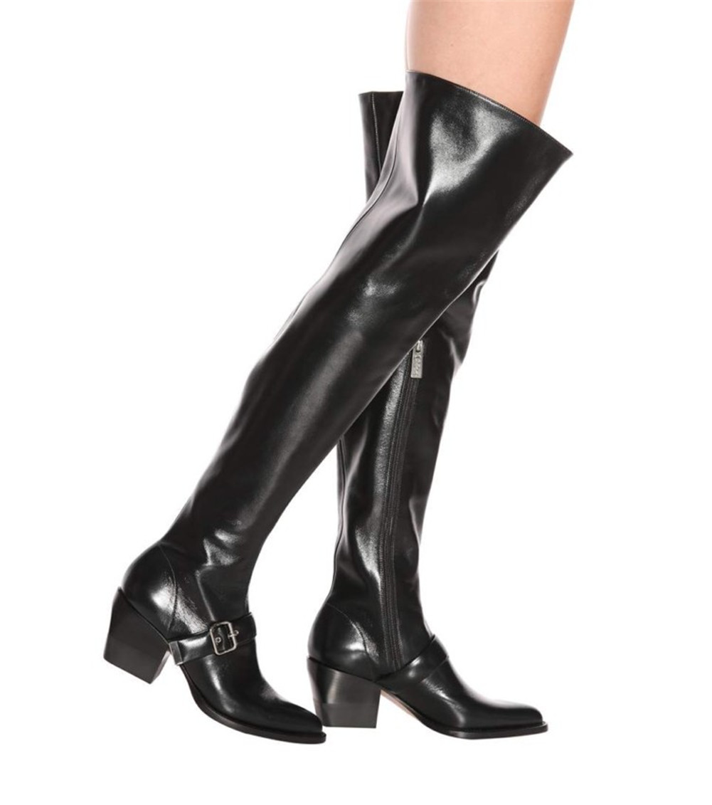 DORATASIA new big size 35 44 chunky heels belt buckle zip pointed toe women shoes woman casual party office over the knee boots in Over the Knee Boots from Shoes