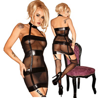 Fast Delivery Adult Women Sexy Black Leather Mesh Teddy Catsuit See Through Bondage Maid Fetish Latex