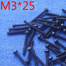 M3*25 25mm 1 pcs black Round Head nylon Screw plastic screw Insulation Screw brand new RoHS compliant PC/board DIY hobby etc(China)