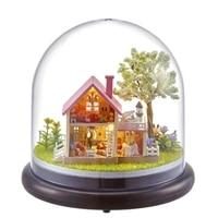 DIY Wooden Dollhouse 3D Villa Model Puzzle Miniature Hut Dolls House Furniture Kits LED Lights For