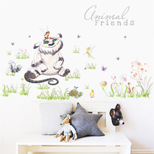 cute warm Animal Friends Cat Flower Fairy home decals wall sticker for kids room baby bedroom art stickers