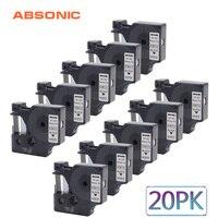 Absonic 20PCS 6mm Label Printer Refill Tape Compatible for DYMO D1 Printer 43613 Black on White for DYMO Label Ribbons Cassette