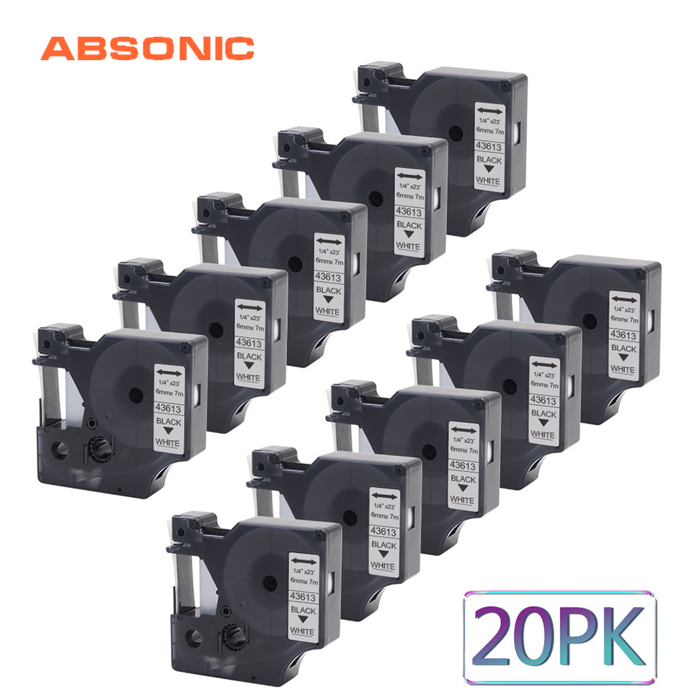 Ruban de recharge pour imprimante d'étiquettes Absonic 20 pièces 6mm Compatible pour imprimante DYMO D1 43613 noir sur blanc pour Cassette de rubans d'étiquettes DYMO