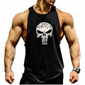 Male Punisher Thin Straps Professional Men Vest Bodybuilding Fitness Cotton Golds Gymshark Men Tank Tops Undershirt Tops