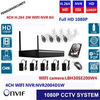 WIFI CCTV System 4CH Wireless NVR Kit 1080P Outdoor IR Night Vision Home Surveillance Security IP