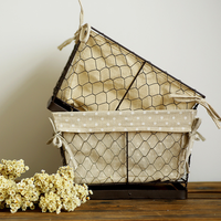 1 PCS Japanese groceries wave wrought iron storage basket Iron wire fruit basket debris basket magazine basket AP10231905