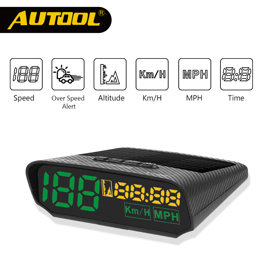 AUTOOL X100 HUD GPS Speedometer Car Head UP Display Auto Electronics Multifunction Digital Speed Altitude Meter Automotive KM/H