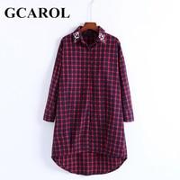 GCAROL New Arrival Women Rhinestone Collar Shirt Dress Asymmetric Plaid British Style Oversize Vintage Dress For