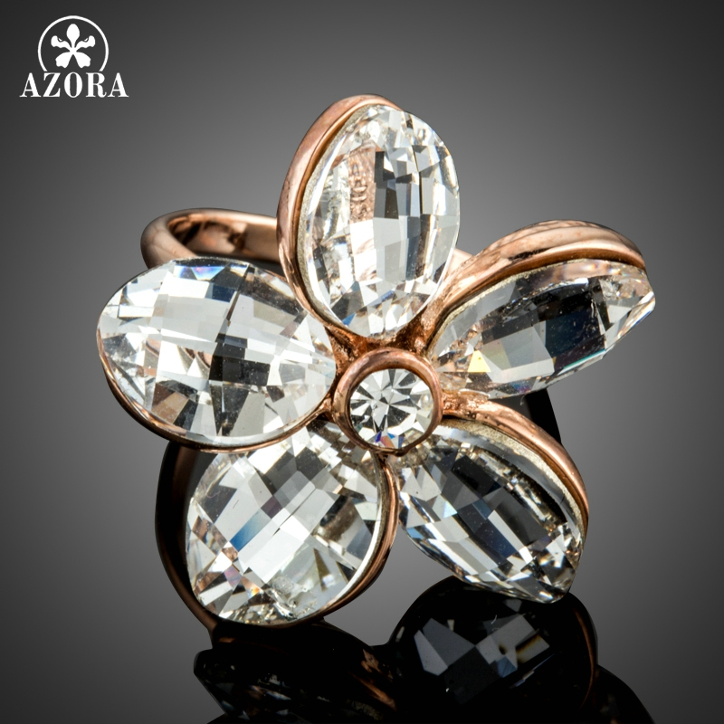 AZORA Genuine Clear Austrian Crystal Flowers Adjustable Size Rings Rose Gold Color Simple Design for Women TR0178