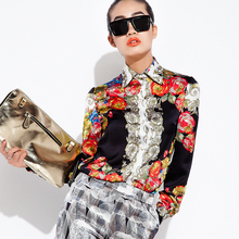 2014 women's spring fashionable casual silk print quality shirt top s017sp13