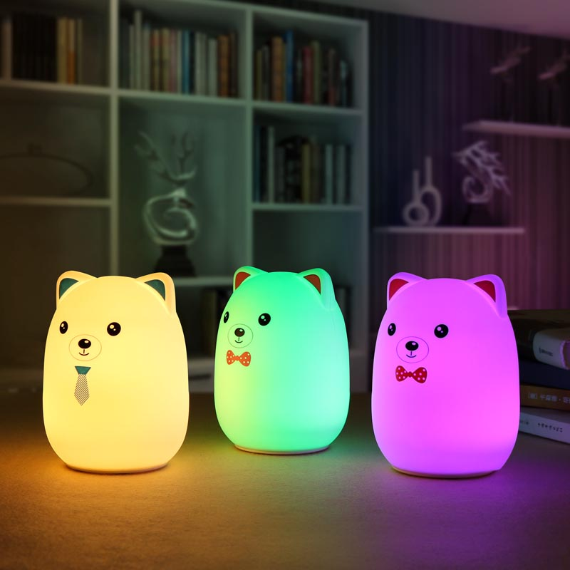 Jiaderui Adorable Pet Bear Rechargeable LED Night Light Touch of 7 Colors Lights Silicone Cute Animal Decompression Patted Light cute 3d rilakkuma bear jelly silicone cover for ipod touch 6 touch 5 red