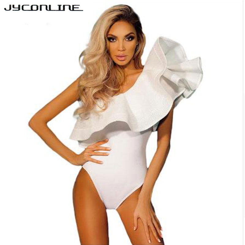 JYConline Ruffles Women Bodysuit Sexy   Jumpsuit   Black White Body Top One shoulder Bodycon   Jumpsuit   Sexy Rompers Combinaison Femme