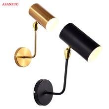 Lámpara de pared ajustable para sala de estar, dormitorio, cabecera, estudio, pasillo, moderna, minimalista, creativa, de hierro negro dorado