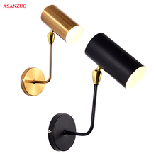 Modern minimalist creative personality black gold iron adjustable wall lamp for living room bedroom bedside study aisle