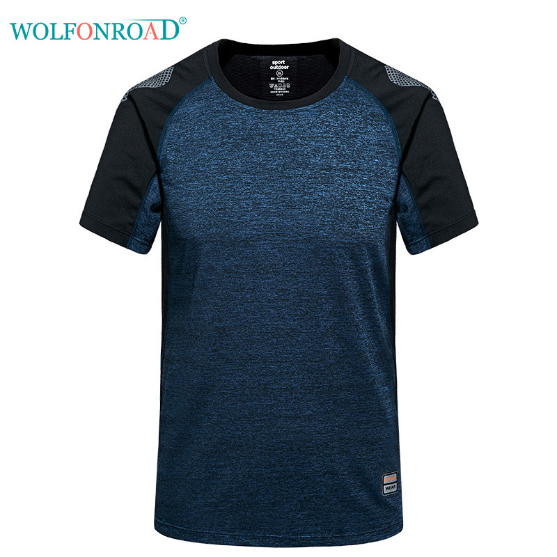 WOLFONROAD Summer Men T shirt Breathable Quick Dry Tops Climbing Hiking T Shirt Male Sport 6XL Plus Size Shirt L-PLSM-001 plus size skew collar sequined trim overlay t shirt
