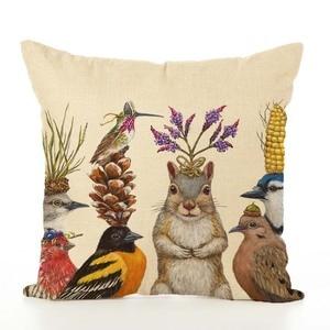 Image 3 - Housse de coussin nordique en lin imprimé animaux, taie doreiller, pour Thanksgiving, pour canapé, voiture, décoration de salon