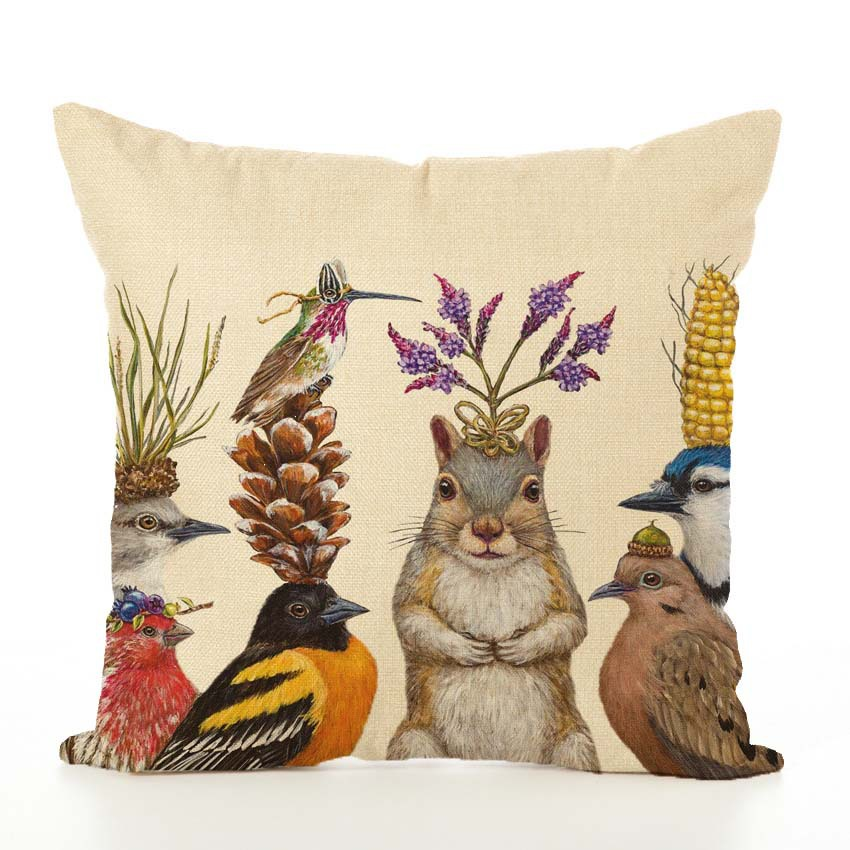 Image 3 - Nordic Cushion Cover Animal Printed Linen Hug Pillowcase Thanksgiving Couch Car Waist Sofa Cushion Cover Living Room Decoration-in Cushion Cover from Home & Garden