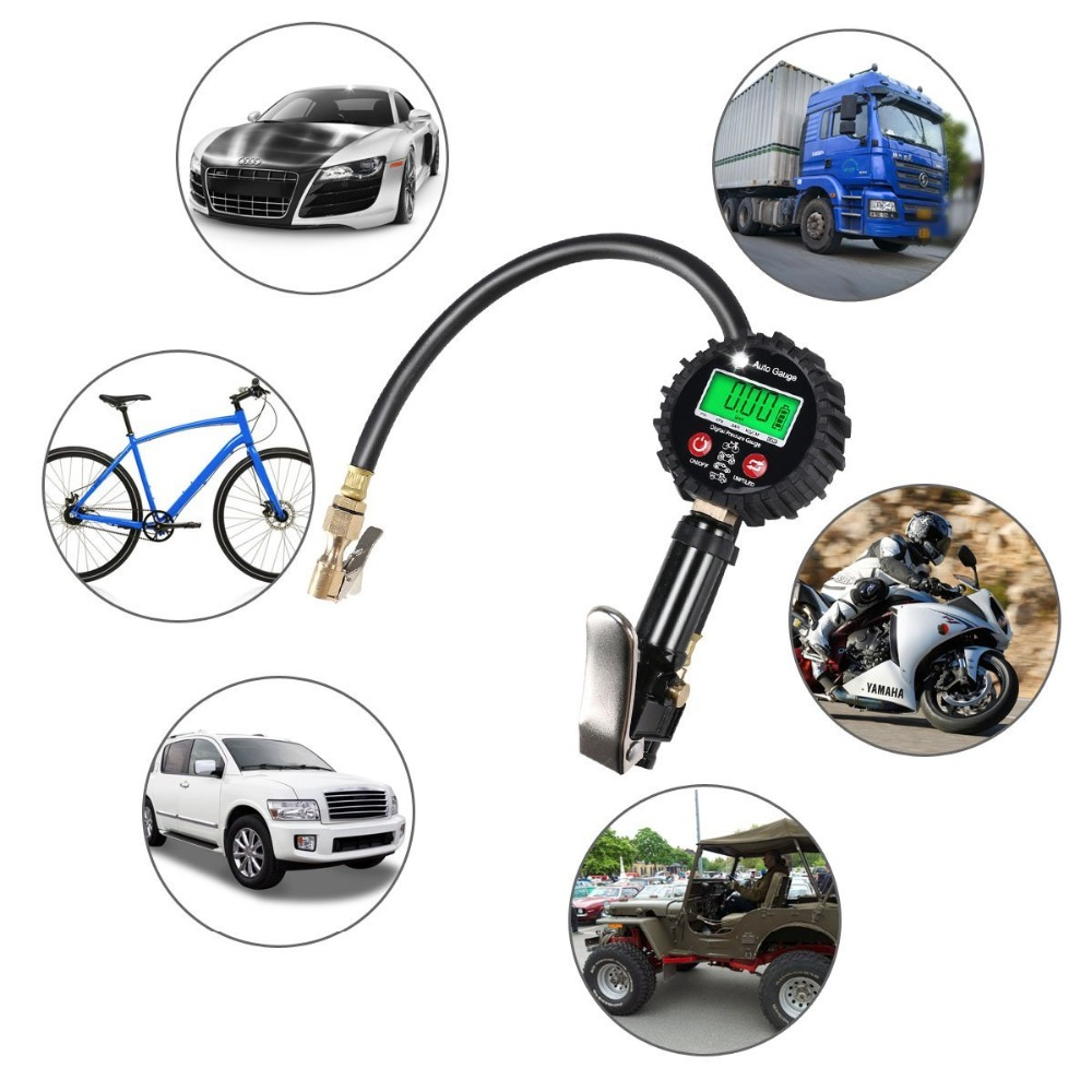 Digital Tire Pressure Gauge 200 Psi Tire Inflator Gauge Air Compressor Accessories With Rubber Hose And Quick Connect For Car