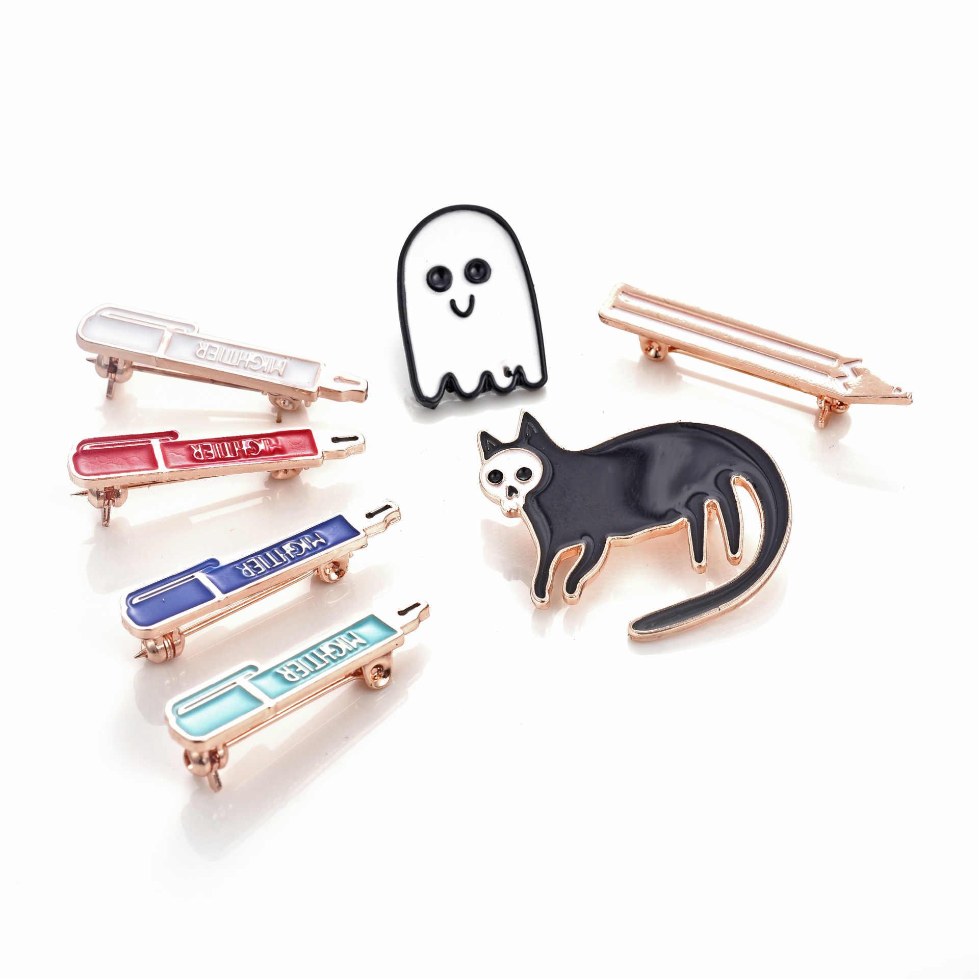 0b56fbfa8 Mightier Pen Ghost Cats Brooches Enamel Pin for Boys Girls Lapel Pin Hat/bag  Pins