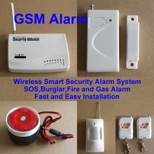 GSM Home Security Wireless Smart Security Alarm System SOS Burglar Fire and Gas Alarm with PIR Sensor Door Window Sensor